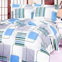 Blue Fantasy, 100% Cotton 4PC Duvet Cover Set (Full Size)